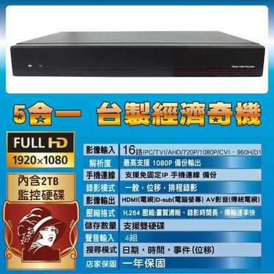 台灣製造 5合一 16路 監控主機 含2TB硬碟 一年保固 台中市可自取 進美術館 支援16影像4聲音 可裝雙硬碟