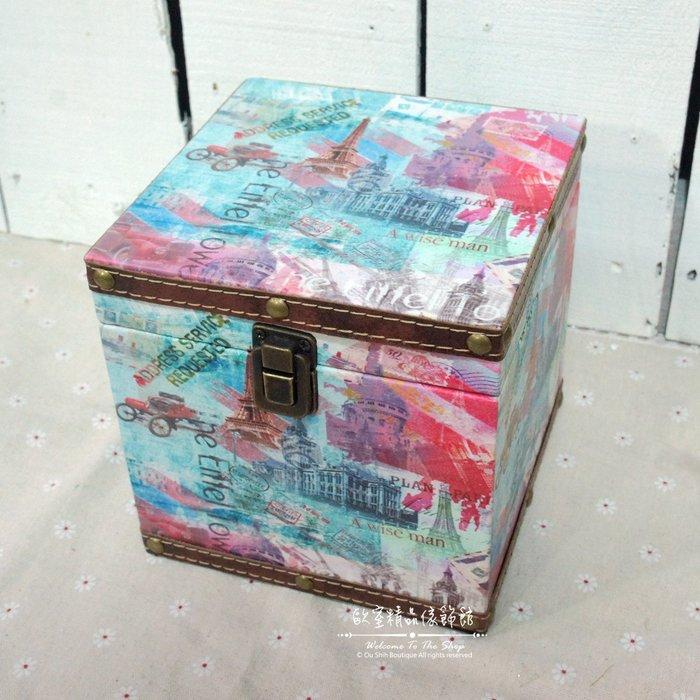 ~*歐室精品傢飾館*~美式鄉村/Loft工業 木製 皮革 收納箱 (小) 歐洲街景 玩具箱 藏寶箱 擺飾 ~新款上市~