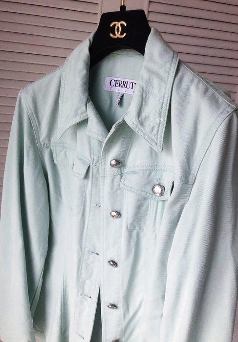 原價三萬多【CERRUTI 1881】夏綠蒂白標 淺蘋果綠金屬釦牛仔外套