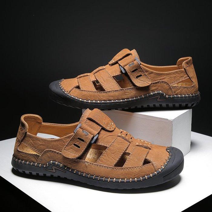 TIME&NES~沙灘鞋夏季時尚外穿包頭涼鞋個性潮流百搭英倫拖鞋防滑軟底洞洞鞋