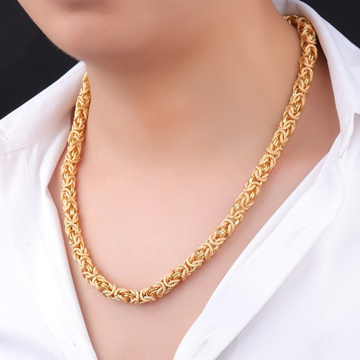 FEI日韓代購~鍍黃金男士項鍊 霸氣粗鍊子潮流人社會嘻哈龍頭骨鍊個性鎖骨頸鍊