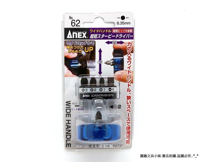 【圓融工具小妹】含稅 日本 ANEX 高品質 超短 螺絲 起子組 五支組 攜帶方便 狹隘空間 方便使力 NO.62