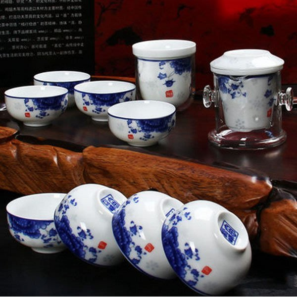 5Cgo【茗道】含稅會員有優惠 45664856021 功夫茶具必備套裝青花瓷紅茶泡套裝陶瓷泡茶蓋碗小口杯品茗杯10件套