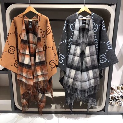 【BLACK A】精品 GG 格紋雙面羊毛斗篷披肩 棕色/灰色