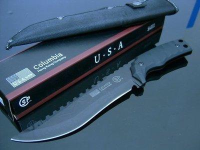 #萬粘大樓#一體成形Columbia -USA消光黑 叢林刀 登山刀 KH017