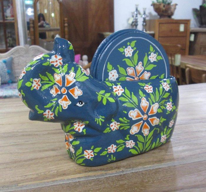 【肯萊柚木傢俱館】印度喀什米爾異國風情手工採繪 大象杯墊組(一組四片)  限量商品