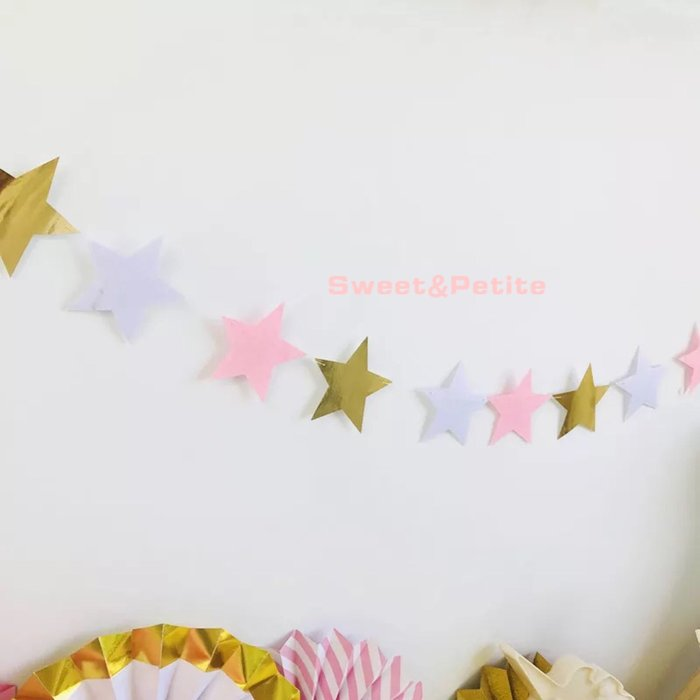 PR485❤多彩色系五角星星掛旗❤ 粉彩色系 不織布 五角星星掛飾 周歲生日 派對布置 小孩房 嬰兒房 兒童帳篷佈置道具