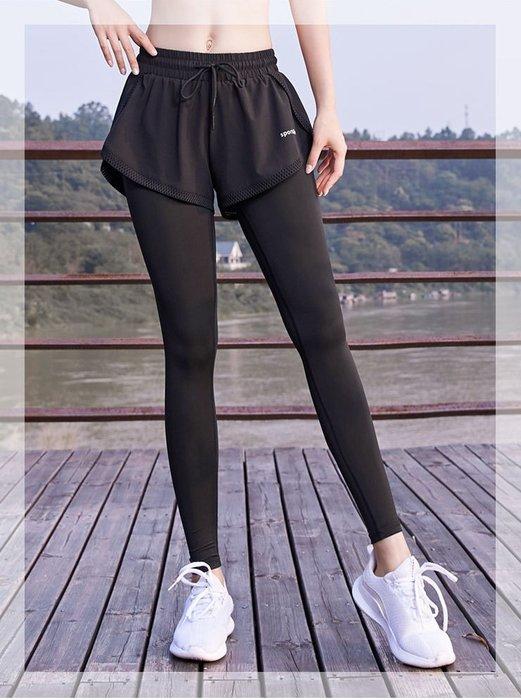 假兩件運動褲 健身褲 彈力緊身褲 顯瘦 彈力速乾透氣面料  瑜伽褲跑步運動【S~XL】緊身褲運動褲假兩件式