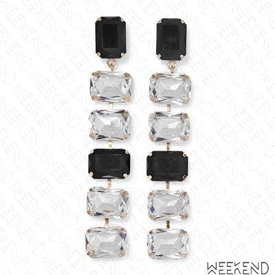 【WEEKEND】ROSANTICA Patto 大尺寸 水晶 一對 耳環 黑色 銀色 19秋冬