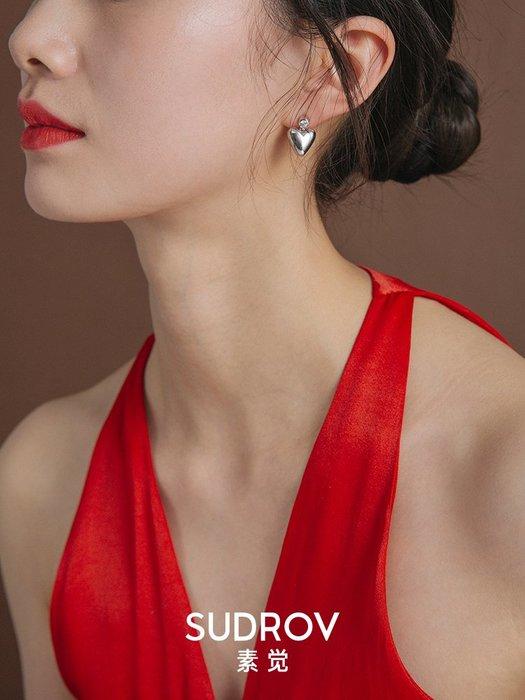 FEI日韓代購~素覺小眾設計高級感純銀精致心形耳墜女耳環耳釘耳飾情人節禮物
