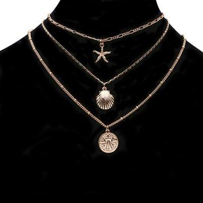 項鍊 合金 鎖骨鍊三件套-硬幣海星貝殼情人節生日禮物女飾品73uz9[獨家進口][巴黎精品]