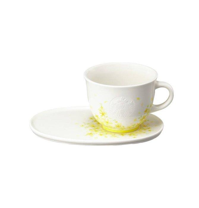 【現貨】韓國星巴克 2019春天黃綠色金鐘花&花園系列--黃金鈴馬克杯與杯盤340ml