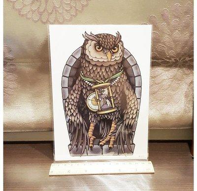 【萌古屋】貓頭鷹手臂大圖 - 防水紋身貼紙刺青貼紙HB-517