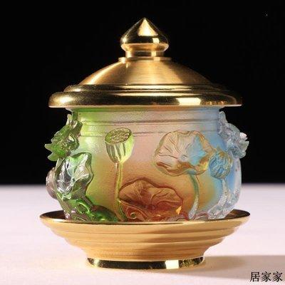 佛燈 供奉用品 宗教用品 佛前供水杯供佛杯純銅七彩琉璃圣水杯凈水杯觀音大悲水杯仙家貢杯