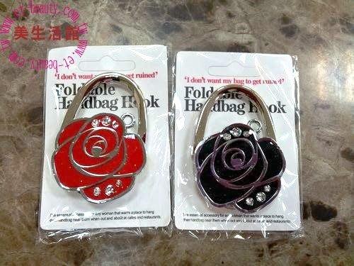 美生活館---全新 玫瑰花 造型設計 桌邊皮包掛包器/掛勾/鑰匙勾--送禮/自用皆宜