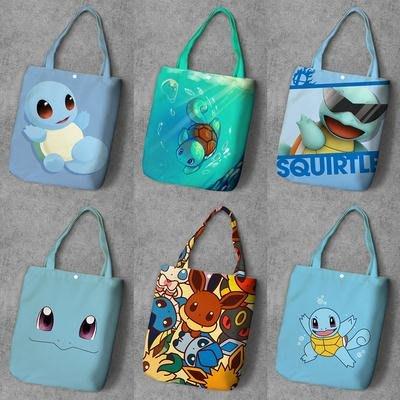 帆布包 購物袋精靈寶可夢 口袋妖怪 杰尼龜 Squirtle 單肩袋學生帆布包