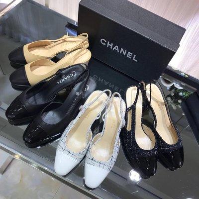 ✤寵愛Pamper for you✤CHANEL Sling-Back法式粗跟尖頭涼鞋