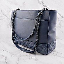 現貨秒出 *NINI Shop* 真皮 羊皮 36cm 大托特包 底部菱格 大容量- 湛藍 (刷卡/超取付款)