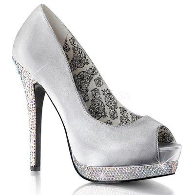 Shoes InStyle《五吋》美國品牌 BORDELLO 原廠正品水鑚緞面厚底高跟魚口鞋有大尺碼『銀灰色』