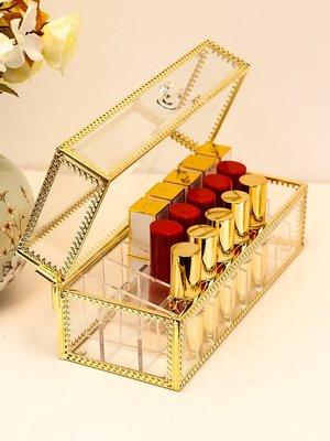 化妝收納盒網紅玻璃口紅收納盒透明防塵家用亞克力梳妝臺多格唇釉整理置物架