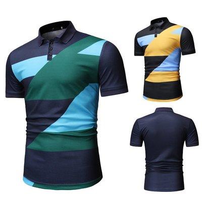 『X-男人館』 N5 新款外貿拼色圖案POLO衫 商務POLO衫 男士休閒時尚短袖POLO衫NRG340