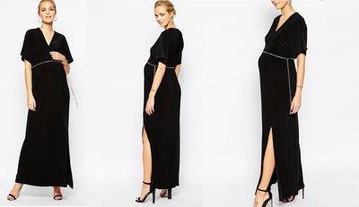 嫻嫻屋) 英國ASOS-Club L 優雅時尚孕媽咪金屬鏈黑色氣質長洋裝 現貨UK10  孕婦裝 Maternity