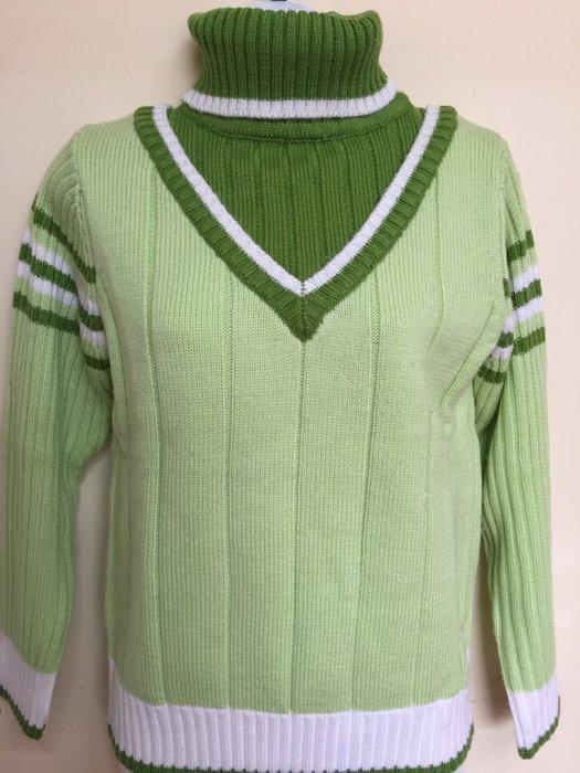 百貨日製條紋綠毛衣