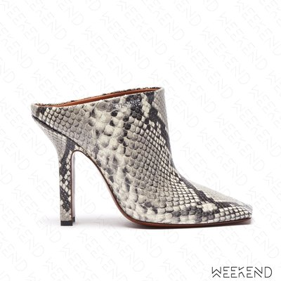 【WEEKEND】 VETEMENTS Boomerang 蛇紋 皮革  高跟 穆勒鞋 白色 促銷