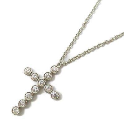 TIFFANY&CO 蒂芙尼 十字架 鑽石 項鏈 PT950 日本現貨 包郵包稅 9.0成新【BRAND OFF】