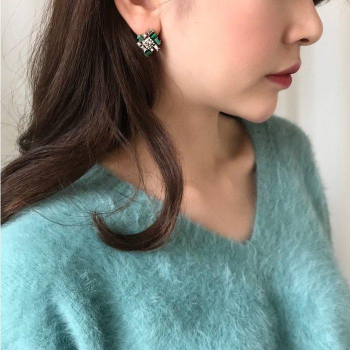 FUDGE法橘 / 正韓 巴洛克復古水晶蛋白石鑽飾耳環/925純銀針/LE190215