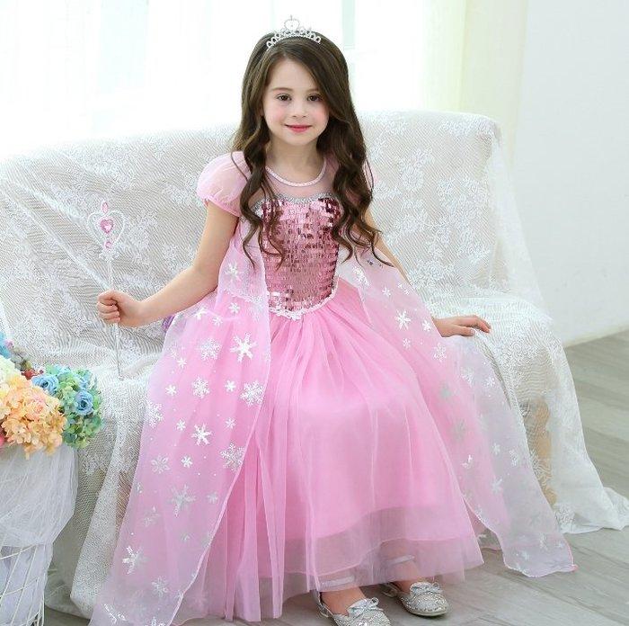 *蜜寶貝🚩萬聖節d58 冰雪奇緣の冰雪皇后愛莎公主裙Elsa禮服蓬蓬紗連衣裙女童裝洋裝  100-150CM-002