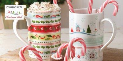 【 Portmeirion 英國品牌 瓷器 全新進口 】 Portmeirion 聖誕 心願條紋馬克杯 或 心願村馬克杯