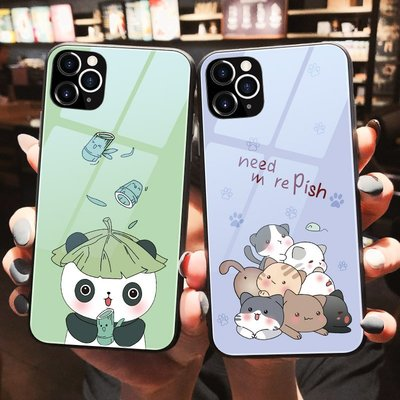 叁月可愛卡通熊貓蘋果11手機殼女11pro新款iphonex創意潮xr超萌貓咪xs max全包邊iphone8玻璃6s/