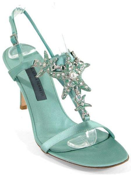 全新【Philosophy di ALBERTA FERRETTI】湖水綠海星白珍珠寶石奢華絲緞露趾高跟涼鞋