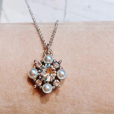 韓國甜美可愛百搭 巴洛克風 維多利亞風 菱形 珍珠短項鍊~B111~鎖骨項鍊