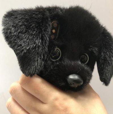 【黑店】手工訂製款 可愛毛茸茸小黑狗手機殼 超可愛iphone手機殼軟殼 狗狗手機殼