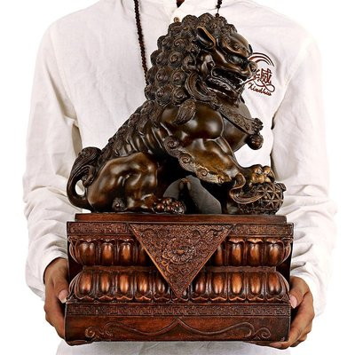 開光招財北京獅故宮門獅子擺件一對 看守門獅家居風水聚財工藝品