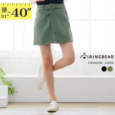 裙子--修飾顯瘦個性附圓環腰帶素面A字水洗斜紋牛仔短裙(黑.綠XL-5L)-Q125眼圈熊中大尺碼