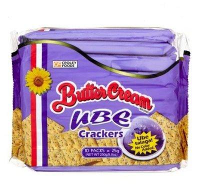 菲律賓 CroleyFoods Butter Cream Ube crackers 山藥餅乾/1包/25x10g
