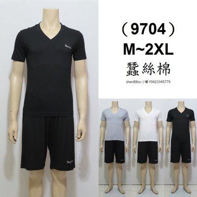 小櫻【9704 蠶絲棉.男短袖V領 M...
