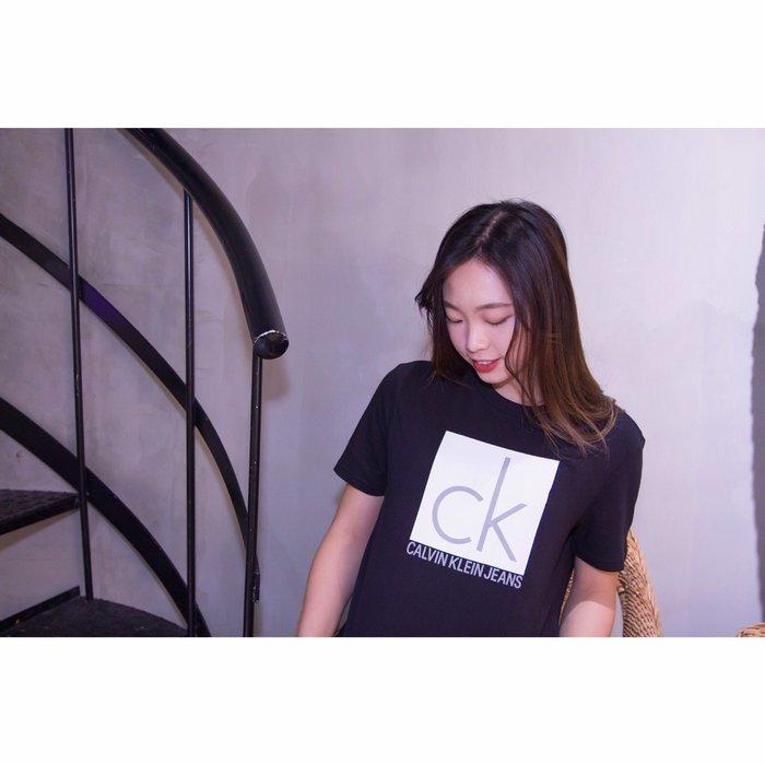 【蟹老闆】CK Calvin Klein 男生短袖 白色方形灰字 黑色
