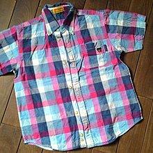 日本製miki house DB 粉格 黑熊襯衫 120