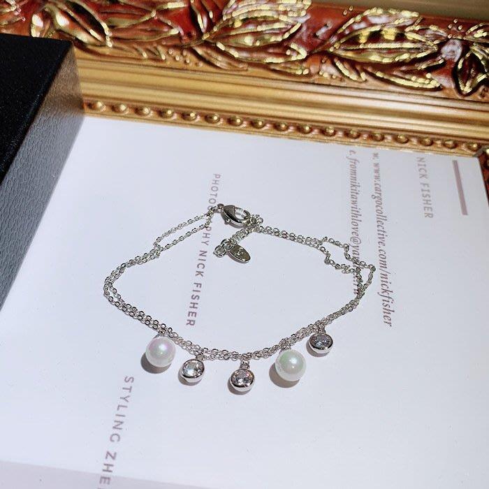 FEI日韓代購~珍珠多層手鍊女韓版簡約學生森系閨蜜手串 個性冷淡ins風飾品