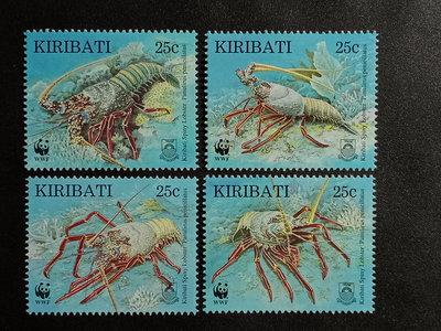 【亂世奇蹟】1998年吉里巴斯瀕危物種-多刺龍蝦郵票4全WWF__6899