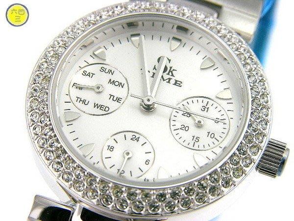 @SK TIME(真品)三眼可動鑽錶.白色面盤.日期.星期.24小時製.雜誌款!!