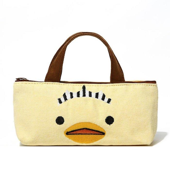 ☆Eric Zakka☆日本樂天黃色小鴨 兒童小拎包 帆布大筆袋 (拉鍊款)(棕色把手)【現貨】JP0874