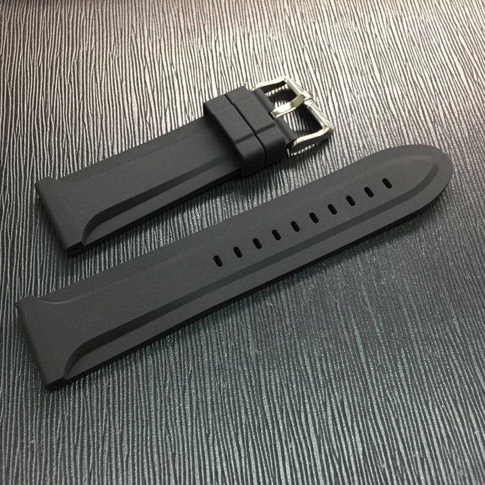 高級矽膠 造型錶帶 質優耐用 黑色 24mm  送錶耳 可加購拆錶帶工具
