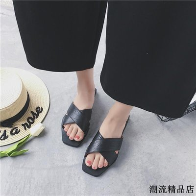 拖鞋女外穿春夏新款韓版百搭露趾交叉帶一字涼拖鞋平底沙灘鞋