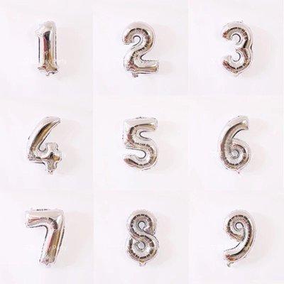 ◎艾妮 EasyParty ◎ 現貨【銀色16寸數字氣球】數字氣球 生日佈置 好閨蜜 生日派對 活動佈置