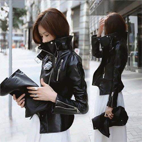 摩登騎士風混搭必備 前衛時尚大高領短版皮衣外套 艾爾莎【TAK8013】